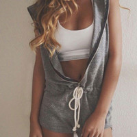 Gray Sleeveless Zip Up Hooded Romper