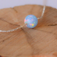 Opal necklace, opal ball necklace, opal silver necklace, opal charm, tiny dot necklace, opal bead necklace dot necklace blue opal necklace