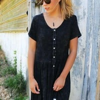 Write Me A Love Song Short Sleeve Acid Wash Black Dress With Lace Hem