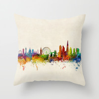 London England Skyline Throw Pillow by ArtPause