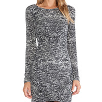 Halston Heritage Twist Drape Skirt Boatneck Dress in Gray