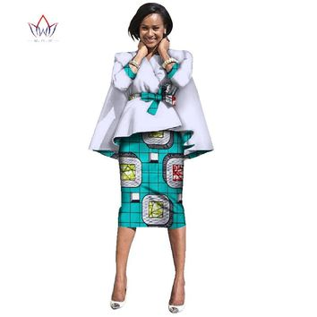 African clothing designs Dashiki maxi Knee-length dress women two pieces