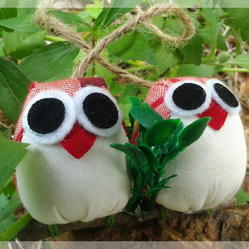couple of owls  red and dark red colors by thujashop on Etsy
