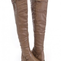 Khaki Faux Leather Thigh High Boots