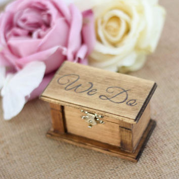 Engraved Rustic Wood Ring Box - We Do