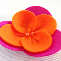 Felt Flower Hair Clip Pink and Orange For Baby by GracefulbyAnna