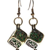 Recycled Emerald Beer Bottle Brass Filigree Box Earrings