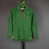 60s Boys Green Shirt Vintage 1960s Christmas Corduroy Lace Pullover Brent Prep NOS 12