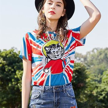 """Gucci"" Women Fashion Personality Multicolor Stripe Universe Cat Print Beaded Letter Short Sleeve T-shirt Top Tee"