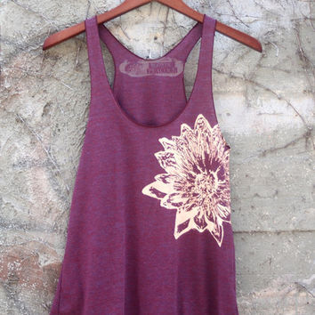 Cranberry and Pale Nude Lotus Tri-Blend Racerback Tank Top