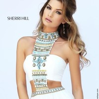 Sherri Hill Beaded Halter Top Dress 11247