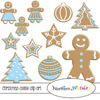 Christmas Cookie Clip Art Set – Blue and White Decorated Gingerbread Cookies – Digital Scrapbooking - instant download clipart - CU OK