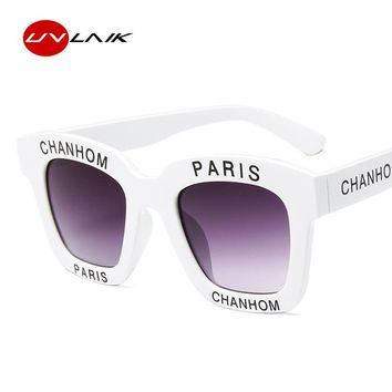 UVLAIK Fashion Letter Sunglasses Women Chanhom Paris Design Vintage Sun Glasses Men Womens Goggles Driving Eyewear Retro Shades
