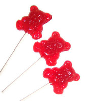 8 Teddy Bear Lollipops - Bright Red Cinnamon - Great Summer Time Treats