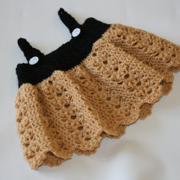Crochet baby dress sun summer crochetyknitsnbits camel brown black hand made baby girl clothes shower gift layette New born baby to 6 months