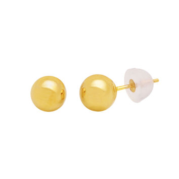 10k Yellow Gold Ball Stud Earrings High Polish Silicone Safety Backs