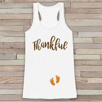 Thanksgiving Pregnancy Announcement Tank Top - Thankful For Baby Pregnancy Reveal - Pregnancy Shirt - White Tank - Thanksgiving Pregnancy