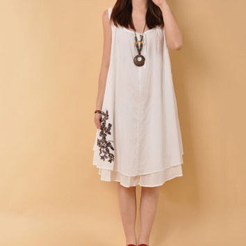 Linen Women Dress Sleevelss Loosen Ladies Dress Retro Chinese Style Pregnant Women Clothes