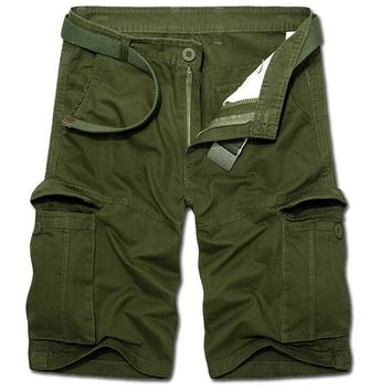 4 Colors Plus Size 2017 Man Summer Casual Cargo Shorts Army Combat Camo Shorts Male Solid High Quality Straight Army Green