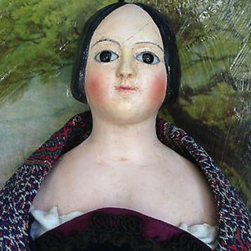 "Antique German Papier Mache 14"" Glass Eyed Lady Doll  W/ Sculpted Hair"