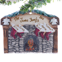 Family of 5 stockings Christmas ornament - personalized freee -  fireplace mantel ornament - rock fireplace Christmas ornament