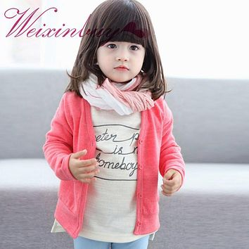 WEIXINBUY Christmas Sweater Kids Girl Cardigan Spring Autumn Winter Candy Color Coat Single-Breasted Sweaters Outwear Outfit