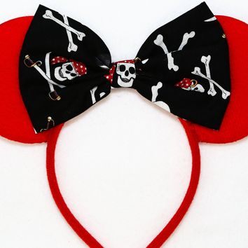 Pirates of the Caribbean - Red Minnie Mouse Ears with Pirates Bow