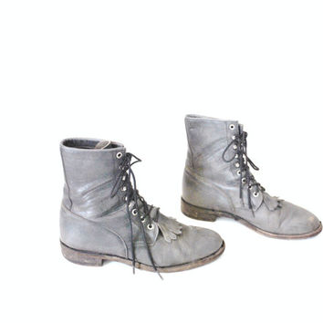 70s distressed grey lace up combat boots / fringe leather ROPERS riding booties 9 10