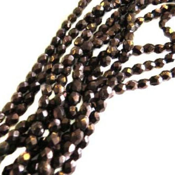 4mm Czech Dark Bronze Gold Fire Polished Glass Beads