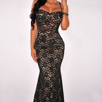 Black Spaghetti Strap Lace Fishtail Bodycon Maxi Dress
