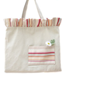 Striped Ruffle Top Tote Bag with Front Pocket by AppleWhite