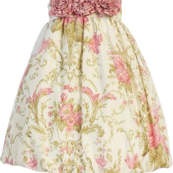 Dusty Rose Floral Print Cotton Easter Spring Bubble Dress w Taffeta Trim (Baby Girls 6 Months - Toddler Size 4T)