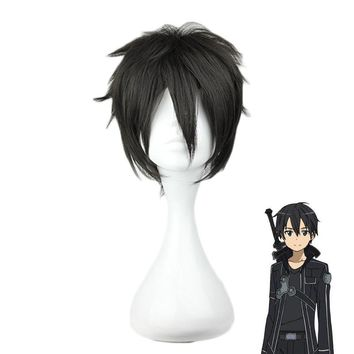 Sword Art Online Kirigaya Kazuto wig Cosplay Costume SAO Kirito Men Women Short Black Synthetic Hair Party Role Play wigs