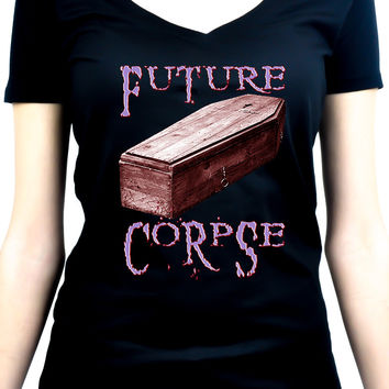 Future Corpse Coffin Women's V-Neck Shirt / Top
