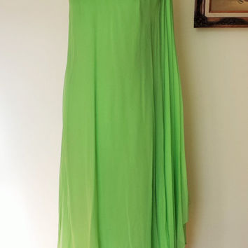 Vintage 1960s Greek Goddess Dress / Silk Chiffon Grecian Dress / 60s Apple Green Dress / Beading and Rhinestones