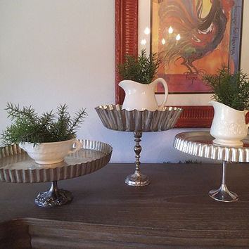 3 upcycled stackable French Ruffle tart Pan Stands ~ 3 Tier Pedestal servers Tower Storage Display Wedding ~