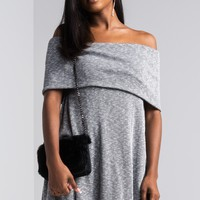 AKIRA Off Shoulder Short Sleeve Ribbed Knit Soft Mini Sweater Dress in Grey
