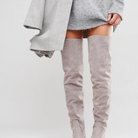 Daisy Street Lace Back Gray Over The Knee Boots at asos.com