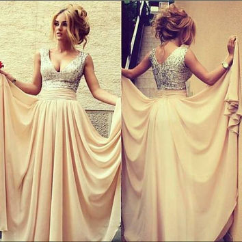 Long Champagne Dress, Sequin V neck Prom Evening Dress, Sexy Formal Evening Dress, Prom Dress, Long Chiffon Sequin Dress, Sexy Prom Dress