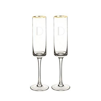Cathys Concepts 3668GF Personalized Gold Rim Champagne Flutes Set of 2 Clear