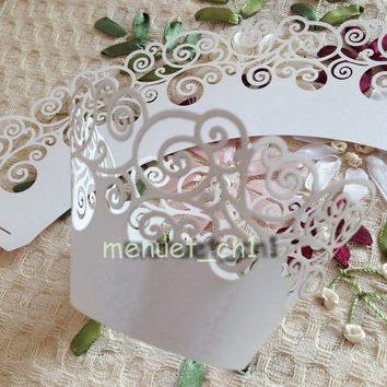 24 Laser cut lace vine pattern cupcake wrappers 5 colors  wedding party bridal shower baby shower sweet 16 birthday