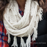 """Alpine Scarf"" - Ivory - Grace and Lace"