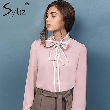 Sytiz 2017 Bow Pink Women Blouse Stand Collar Elegant Fashion Autumn Shirt High Quality Long Sleeve Shirt