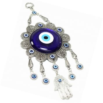 Turkish Blue Evil Eye (Nazar) Flower Hamsa Hand Amulet Wall Hanging Home Decor P