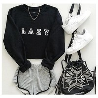 Lazy Graphic Black Hoody Sweatshirts Hoodie Casual Sweatshirts Autumn and winter women hoodies printed letters Long Sleeve