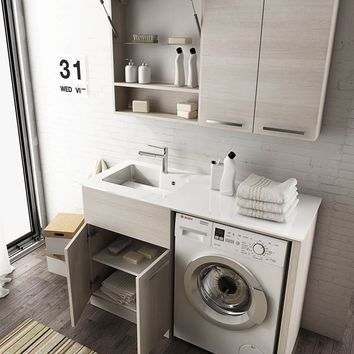 SECTIONAL LAUNDRY ROOM CABINET WITH DOORS WITH SINK LAUNDRY 8 | LEGNOBAGNO