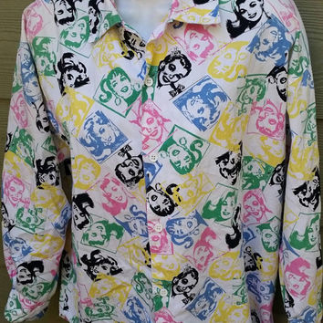 Vintage Esprit Sport 80s Funky Girls Faces Print Oversized Blouse Shirt Top Size Small