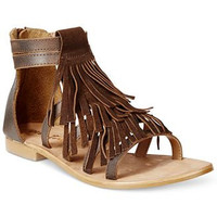 Diba True Shoes Two More Brown Leather Flat Fringe Sandals