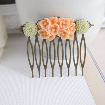Peach Floral Bouquet, Light Green Pompom. Antiqued Brass Filigree. Bridal Wedding Floral Collage Hair Comb Accessory