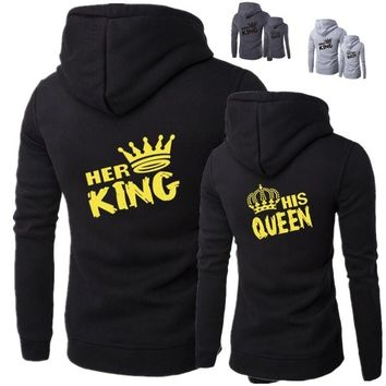 A New Fashion Hoodies Casual Sweatshirt Hooded Pullover Couple Hoodies Print King Queen Autumn and Winter Tops